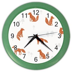 Fox Animal Wild Pattern Color Wall Clocks