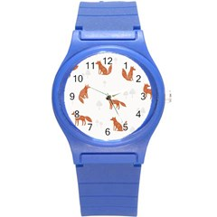 Fox Animal Wild Pattern Round Plastic Sport Watch (S)