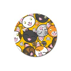 Cats Cute Kitty Kitties Kitten Magnet 3  (Round)