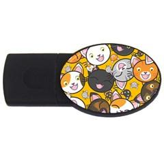Cats Cute Kitty Kitties Kitten USB Flash Drive Oval (1 GB)