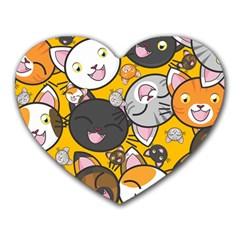 Cats Cute Kitty Kitties Kitten Heart Mousepads