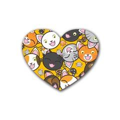 Cats Cute Kitty Kitties Kitten Heart Coaster (4 pack)