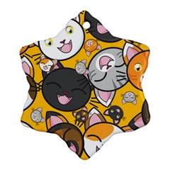 Cats Cute Kitty Kitties Kitten Ornament (Snowflake)