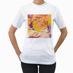 Yellow Marble Women s T Shirt (white) (two Sided)