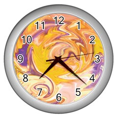 Yellow Marble Wall Clocks (silver)