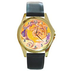 Yellow Marble Round Gold Metal Watch