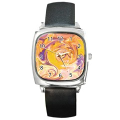 Yellow Marble Square Metal Watch