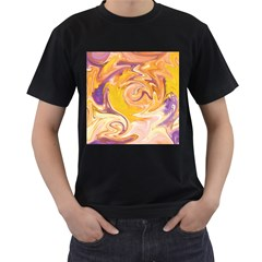 Yellow Marble Men s T Shirt (black) (two Sided)