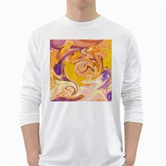 Yellow Marble White Long Sleeve T Shirts
