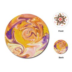 Yellow Marble Playing Cards (round)