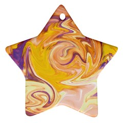 Yellow Marble Star Ornament (two Sides)