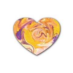 Yellow Marble Heart Coaster (4 Pack)