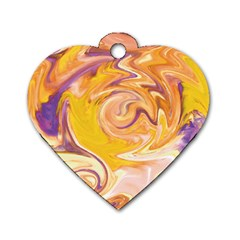 Yellow Marble Dog Tag Heart (two Sides)