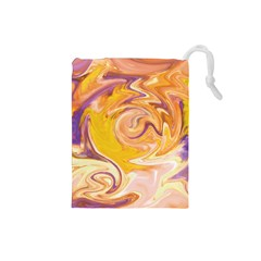 Yellow Marble Drawstring Pouches (Small)