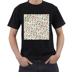 Strawberry pattern Men s T-Shirt (Black) (Two Sided)
