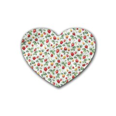 Strawberry pattern Rubber Coaster (Heart)