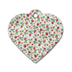 Strawberry pattern Dog Tag Heart (One Side)