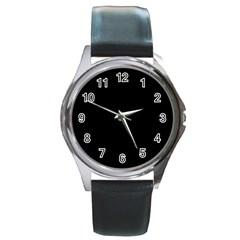 Black Round Metal Watch