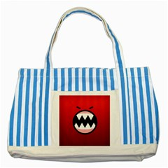 Funny Angry Striped Blue Tote Bag