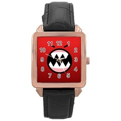 Funny Angry Rose Gold Leather Watch