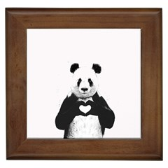 Panda Love Heart Framed Tiles