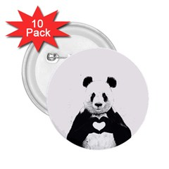 Panda Love Heart 2.25  Buttons (10 pack)