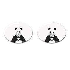 Panda Love Heart Cufflinks (Oval)