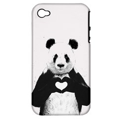 Panda Love Heart Apple iPhone 4/4S Hardshell Case (PC+Silicone)