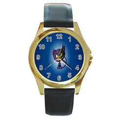Cats Funny Round Gold Metal Watch