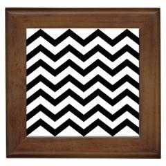 Black And White Chevron Framed Tiles