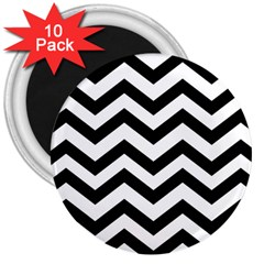 Black And White Chevron 3  Magnets (10 pack)