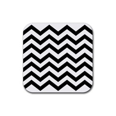 Black And White Chevron Rubber Coaster (Square)