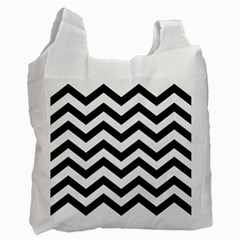 Black And White Chevron Recycle Bag (One Side)