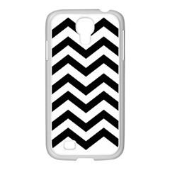 Black And White Chevron Samsung GALAXY S4 I9500/ I9505 Case (White)
