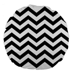 Black And White Chevron Large 18  Premium Flano Round Cushions