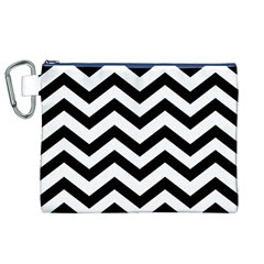Black And White Chevron Canvas Cosmetic Bag (XL)