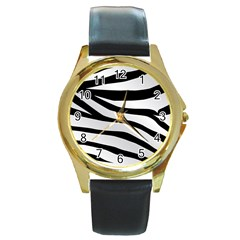 White Tiger Skin Round Gold Metal Watch