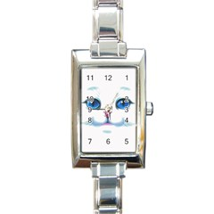 Cute White Cat Blue Eyes Face Rectangle Italian Charm Watch