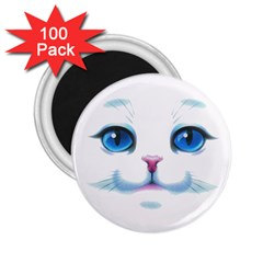 Cute White Cat Blue Eyes Face 2.25  Magnets (100 pack)