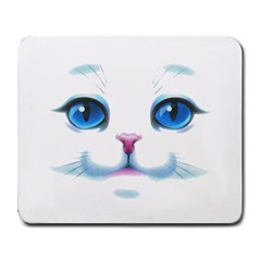 Cute White Cat Blue Eyes Face Large Mousepads