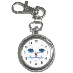 Cute White Cat Blue Eyes Face Key Chain Watches