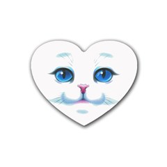 Cute White Cat Blue Eyes Face Heart Coaster (4 pack)