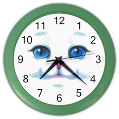 Cute White Cat Blue Eyes Face Color Wall Clocks