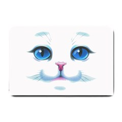 Cute White Cat Blue Eyes Face Small Doormat