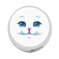 Cute White Cat Blue Eyes Face 4-Port USB Hub (Two Sides)