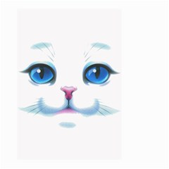 Cute White Cat Blue Eyes Face Small Garden Flag (Two Sides)