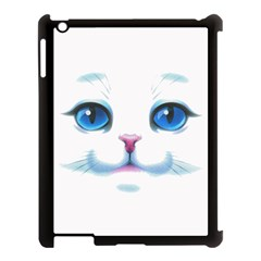 Cute White Cat Blue Eyes Face Apple iPad 3/4 Case (Black)