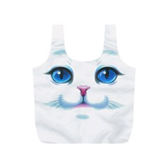 Cute White Cat Blue Eyes Face Full Print Recycle Bags (S)