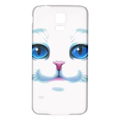 Cute White Cat Blue Eyes Face Samsung Galaxy S5 Back Case (White)