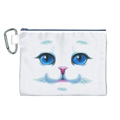Cute White Cat Blue Eyes Face Canvas Cosmetic Bag (L)